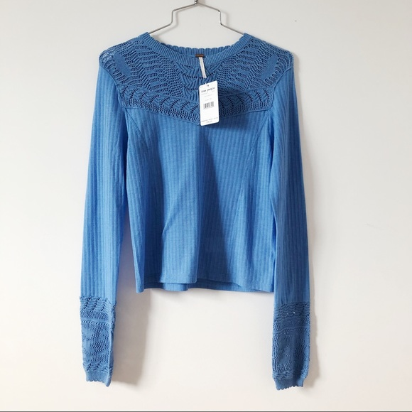 NWT- Free people Colette Pointelle Ribbed
